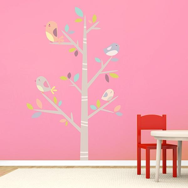 Stickers Murali Bambini Albero.Adesivo Murale Bambini Albero Degli Uccelli Stickersmurali Com