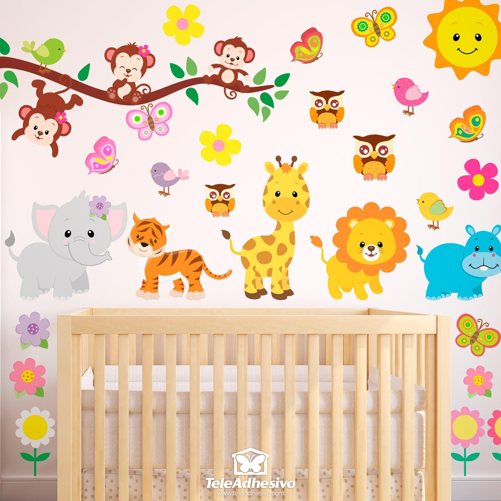 Kit adesivi murali bambini animali giungla for Adesivi murali x bambini