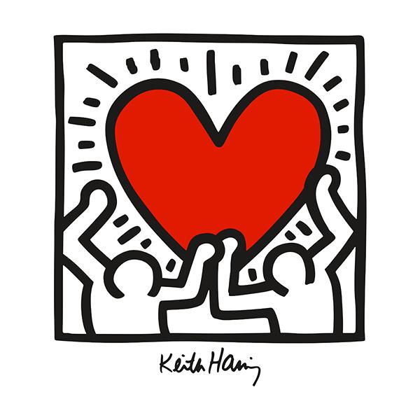 Adesivi Murali Keith Haring.Adesivo Murale Red Heart Colore Stickersmurali Com