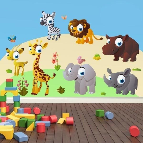 Adesivi Murali Animali Per Bambini.Adesivo Murale Bambini Kit Animali Della Giungla Stickersmurali Com