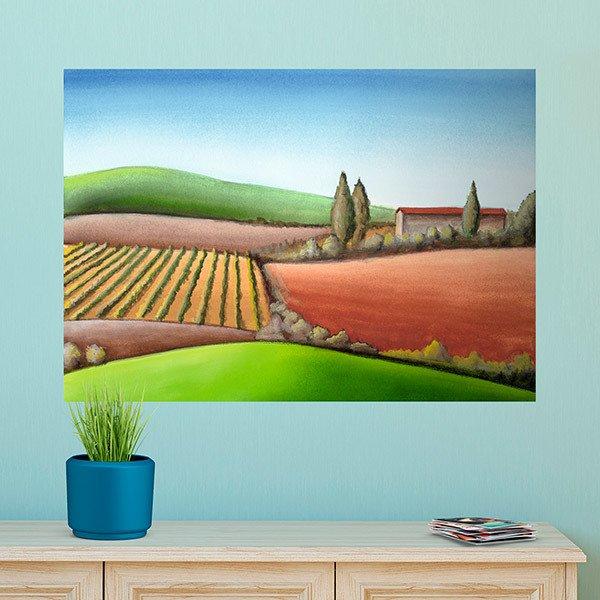 Vinile Poster adesivo Pittura di un paesaggio agricolo ...