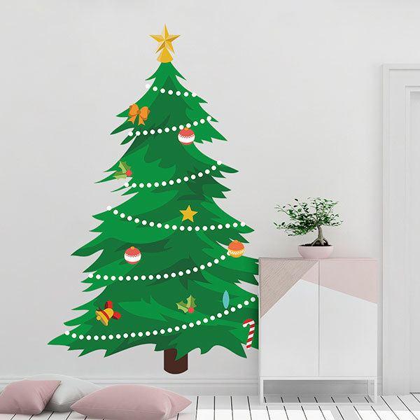 Immagini Abete Di Natale.Adesivo Murale Bambini Abete Di Natale Stickersmurali Com