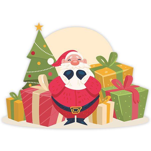 Adesivo murale bambini Babbo Natale con i regali | StickersMurali.com