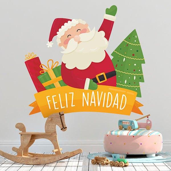 Buon Natale Bambini.Adesivo Murale Bambini Buon Natale In Spagnolo Stickersmurali Com