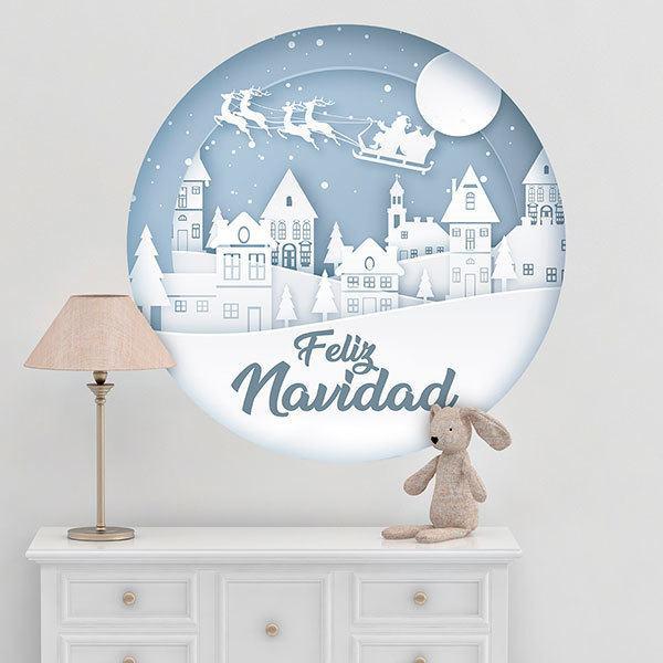 Buon Natale In Spagnolo.Adesivi Murale Di Buon Natale In Spagnolo Stickersmurali Com