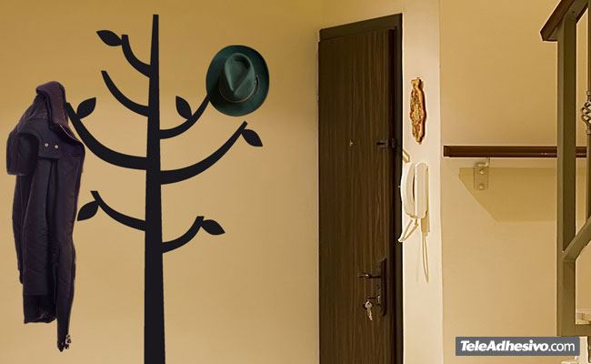 Adesivo murale albero sotto forma di appendiabiti stickersmurali.com