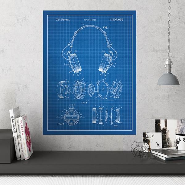 Adesivi Murali  Cuffie sfondo blu c719f9661199