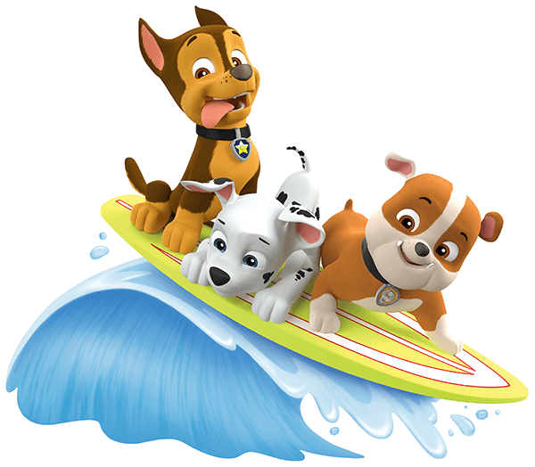 Adesivi per Bambini: Paw Patrol - Chase, Marshall e Rubble surf