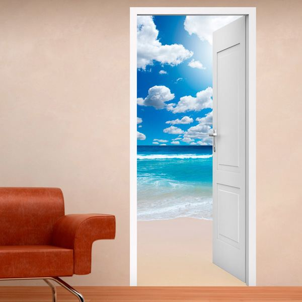 Adesivi Vinile Per Porte.Porta Aperta Spiaggia Cielo Nuvole