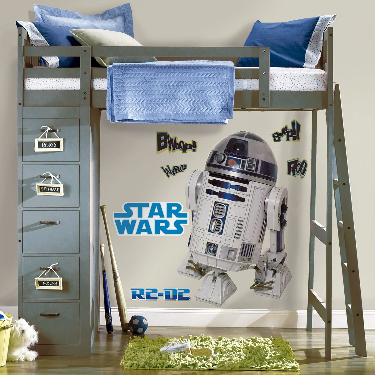 giant r2d2 adesivi murali. Black Bedroom Furniture Sets. Home Design Ideas