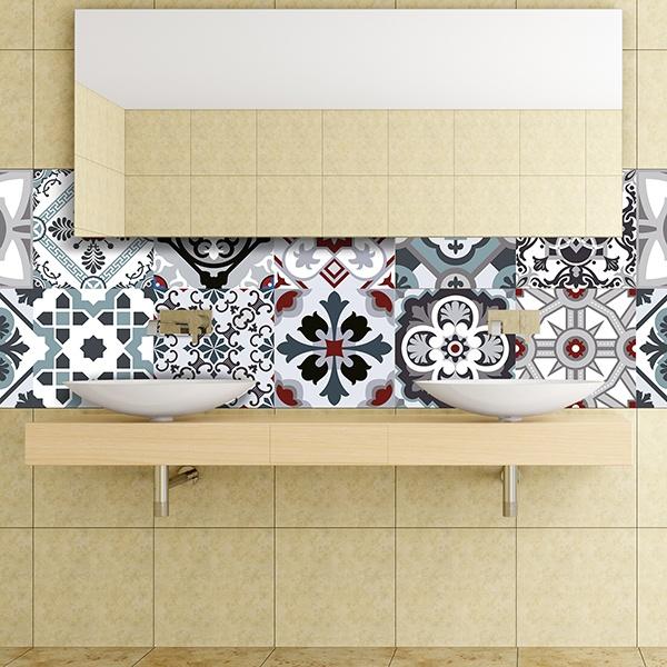 Kit 48 adesivo piastrelle tradizionale for Adesivi murali piastrelle