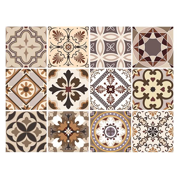 Kit 48 piastrelle adesive seppia tono for Adesivi murali piastrelle