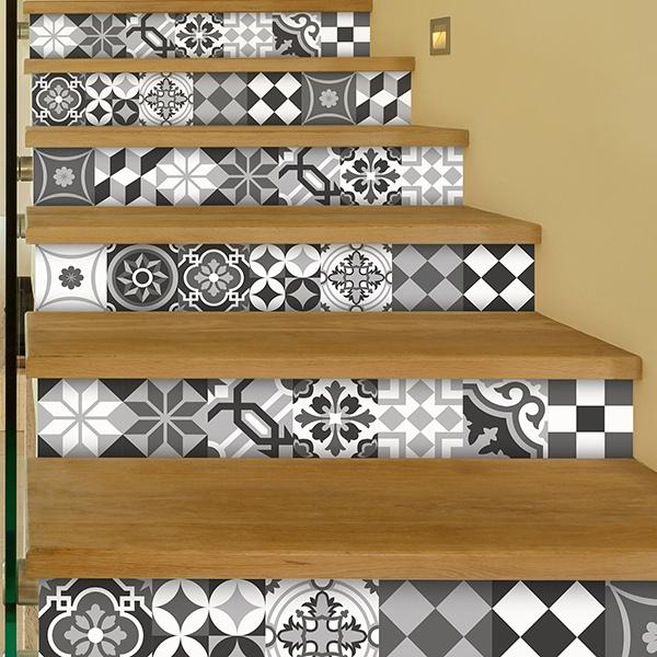 Kit 48 adesivo per piastrelle bianco e nero for Adesivi murali piastrelle