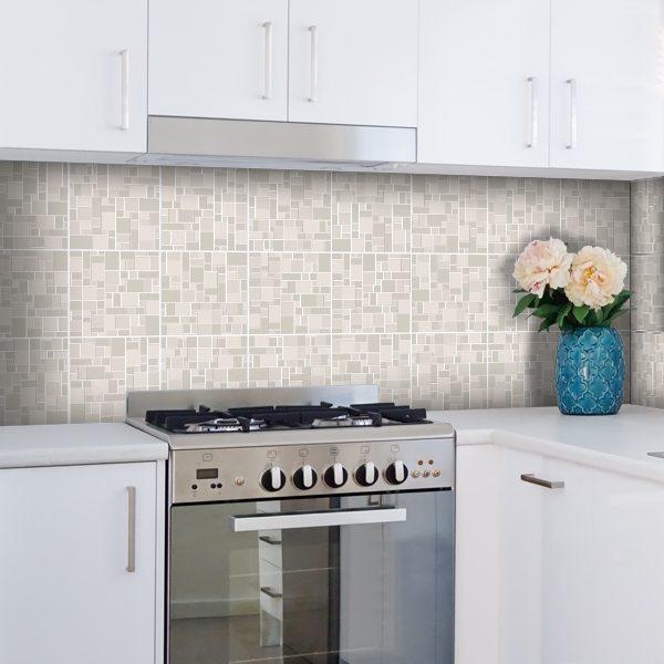 Kit 48 piastrelle adesive effetto pietra per cucina ...