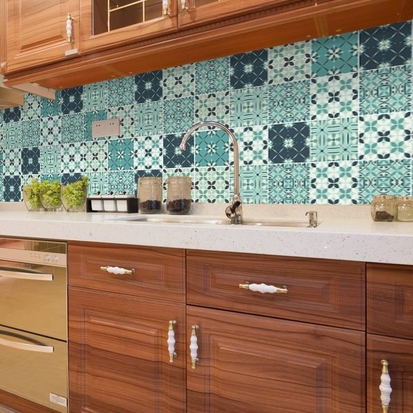 Kit 48 adesivo per piastrelle mosaico verde for Mosaico adesivo per cucina