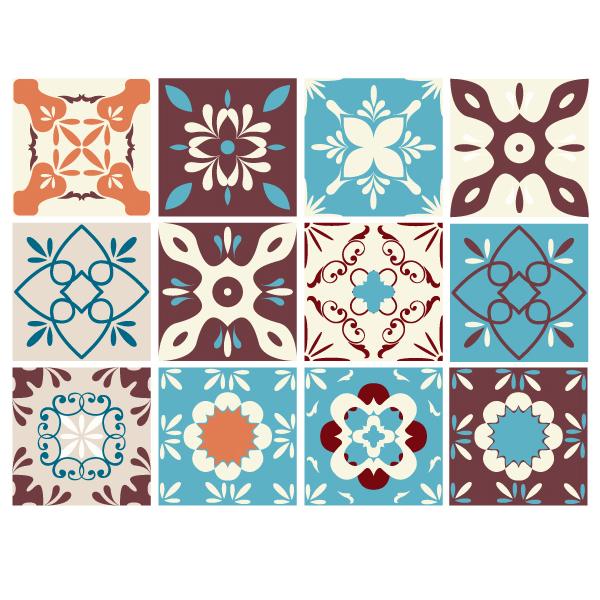 Kit 48 adesivo per piastrelle retro for Adesivi murali piastrelle