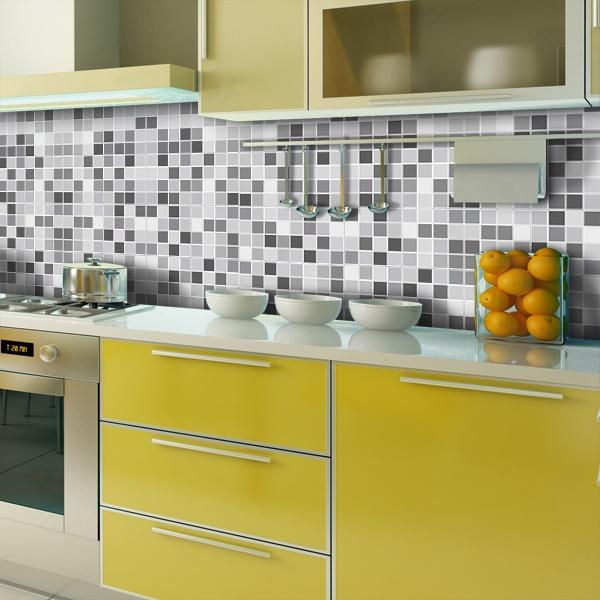 Kit 48 adesivo per piastrelle mosaico grigio - Adesivi per piastrelle ...
