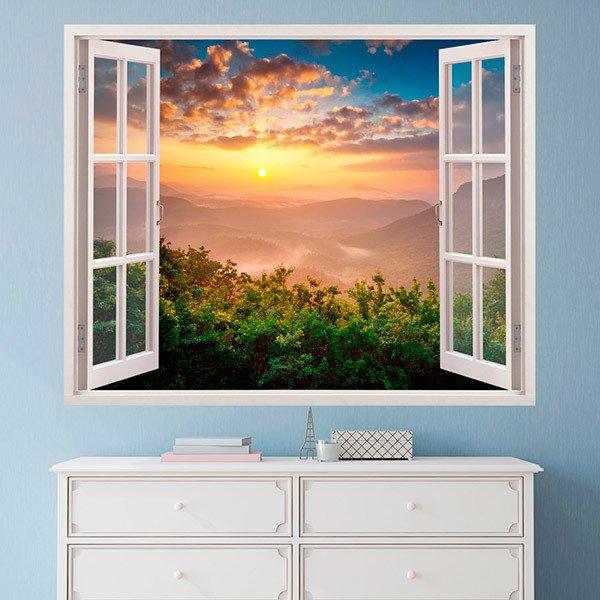 Vinile 3d finestra sunset paesaggio for Adesivi murali 3d