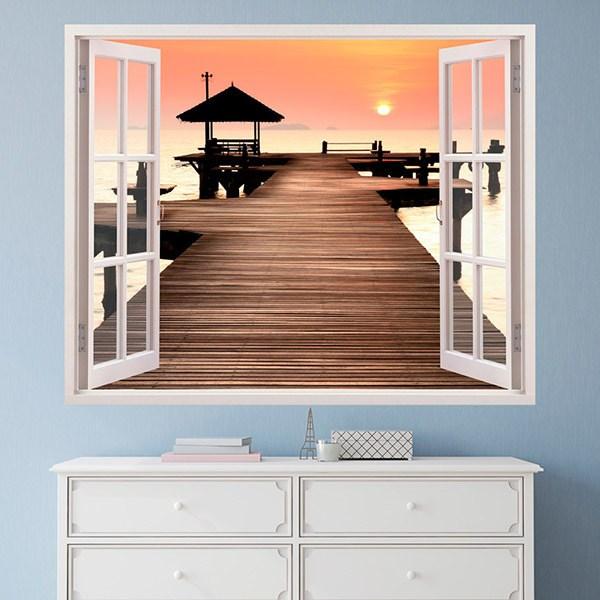 Adesivi murali tramonto sul molo for Adesivi sul muro