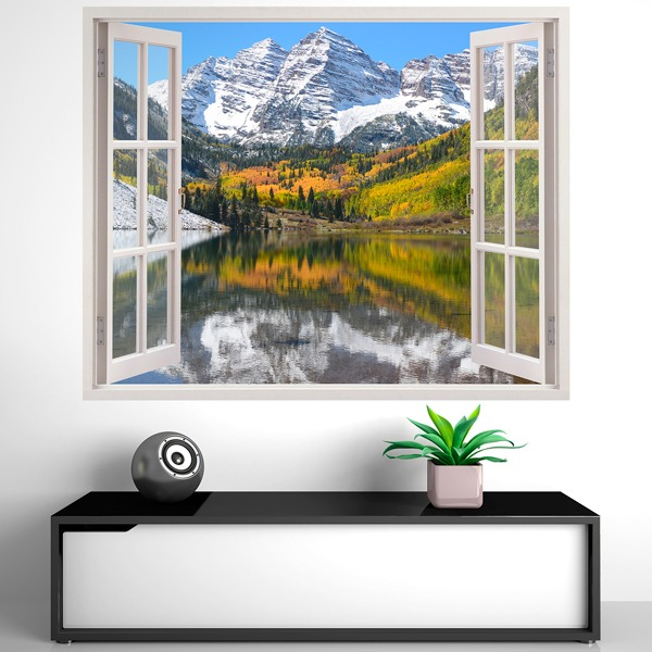 adesivi murali 3d trompe l oeil finestra