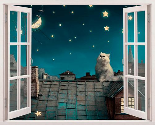 Fotomurale un gatto sul tetto for Finestra sul tetto
