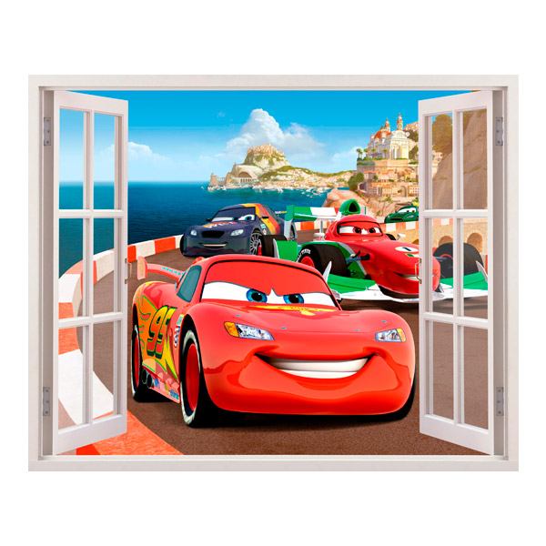 Adesivo murale bambini finestra cars in italia - Adesivo murale finestra ...