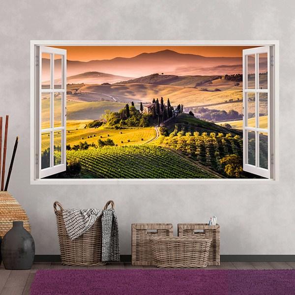Vinile 3D finestra Panoramica Toscana italiano ...