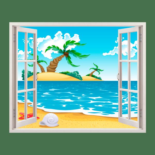 Adesivo murale bambini finestra isla perdida - Adesivo murale finestra ...