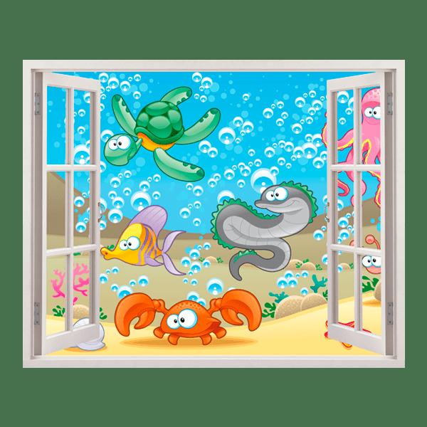 Fondale finestra for Adesivi murali x bambini