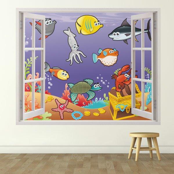 Adesivo murale bambini finestra animali marini - Adesivo murale finestra ...