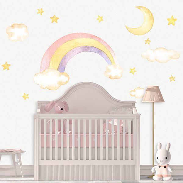 Adesivi murali soli nuvole arcobaleno for Stickers armadi bambini